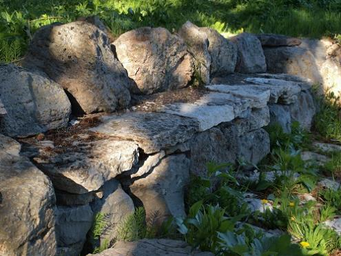 Rock bench at Apolinaris Spring